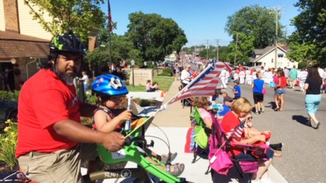 Hometown Bicycles' Shaun and Liam in last year's 4th of July Parade