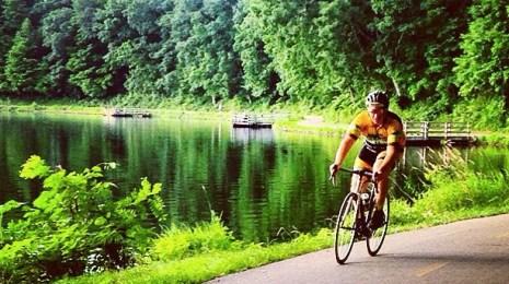 Tim Bart rides Kensington in his Hometown Bicycles kit