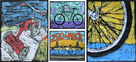 Acrylic monotype prints by Peggy Kerwan at Hometown Bicycles