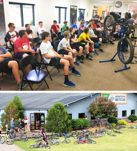 Brighton Bulldogs Cycling Team at Hometown Bicycles for a Basic Bike Maintenance Clinic