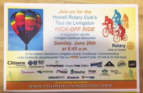 Tour de Livingston Kick-Off Ride flier