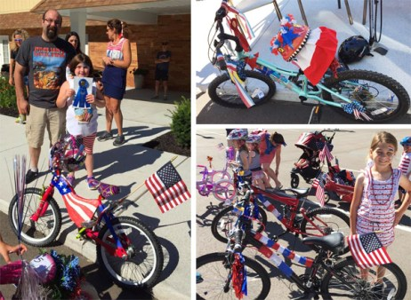 Winners of the Brighton Optimist Club Fourth of July Parade Bike Decorating Contest