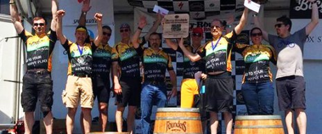 Team Hometown Bicycle on the podium at Barry Roubaix - 1st Place