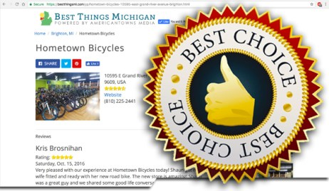 Hometown Bicycles received Best Bike Shop in MI Top 10 placing in Best Things MI