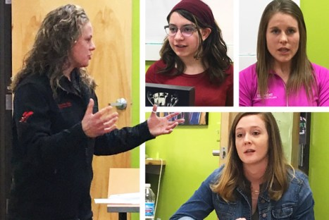 Guest Speakers Jennifer Matras of Competitive Edge Skating, Samantha Brish of Elements Chiropractic, Kelly Cieslak of Keepers by Kelly Photography, and Phaedra McGaffey of Sea of Myth Entertainment at Hometown Bicycles Young Women's Entrepreneurship event