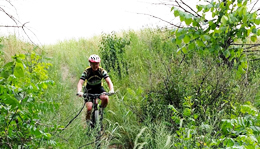 Team Hometown Bicycles rider, Meghan Terbush, mountain biking at Island Lake