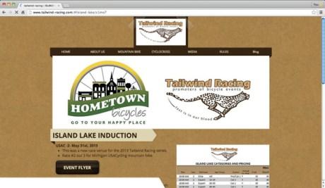 Tailwind Racing - Island Lake Induction web page