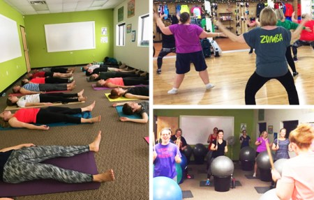 Fitness classes at Hometown Bicycles - Yoga with Tocca Massage, Zumba with Leslie Barrett, and Cardio Drumming with Martha Soraruf