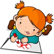 Little girl drawing a bicycle clip art