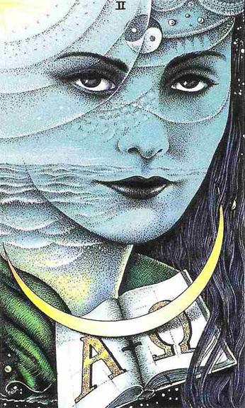 High Priestess - Cosmic Tarot, Saturn Scorpio Trine Neptune Pisces