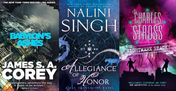 Covers of Babylon's Ashes, Allegiance of Honor, and The Nightmare Stacks