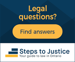 Logo: Legal Questions? Find Answers. Steps to Justice Your guide to law in Ontario.
