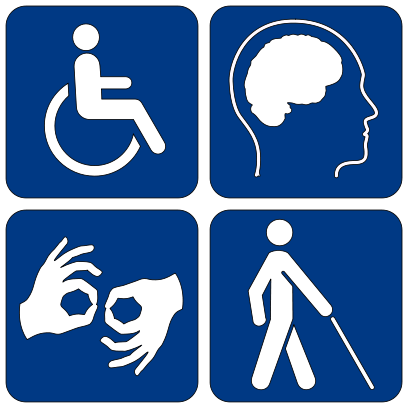 Disability Symbols: wheel chair, brain, hands ASL, person walking with a cane. By Disability_symbols_16.png: via Wikimedia Commons.