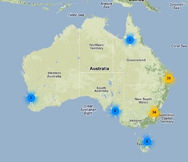 Map showing location of Twitter followers