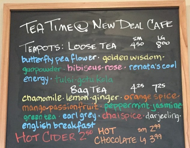 Tea Time at the New Deal Cafe! Loose tea, tea bags, cider, and hot chocolate!