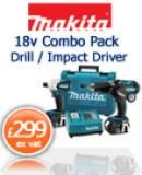 Makita LXT202 18v Combo Pack Drill / Impact Driver £ 299 ex vat