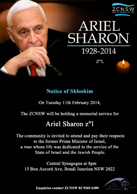 "Notice for Shloshim Ariel Sharon z""l 1928-2014"