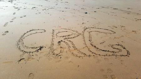 """CRG"" written in the sand"