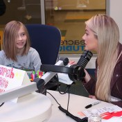 Miss USA 2018 Sarah Rose Summers speaks with a patient at Seacrest Studio