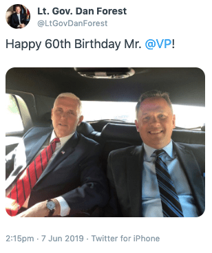 Forest Friendship Friday: NC Celebrates Pride, Dan Forest Sends Birthday Wishes to Anti-LGBTQ VP Mike Pence