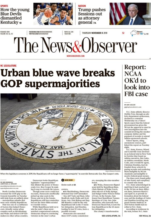 NCDP TAKEAWAY – NC DEMS BREAK SUPERMAJORITY – COOPER BIGGEST WINNER – DEMS SWEEP JUDICIAL ELEX – VOTERS BEAT BACK POWER GRABS –  NEW SHERIFF IN TOWN – GROWING DEM COALITION