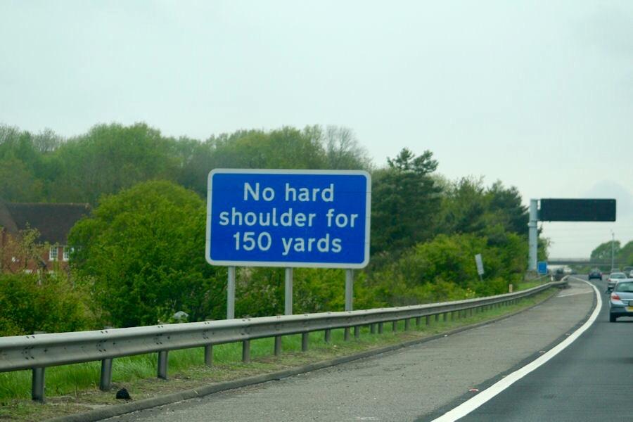 Keine harte Schulter fahren