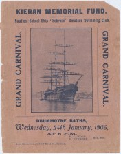 Cover of Booklet for the Kieran Memorial Fund — Nautical Ship Sobraon Amateur Swimming Club Grand Carnival held at Drummoyne Baths on 24 January 1906