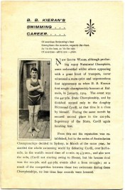 "Before Barney went to England to compete a Grand Farewell Concert was held in 1905 in Sydney. Page 3 ""B.B Kieran's Swimming Career"". Digital copy donated by Hazel Bromby, President Cape Banks Family History Society."