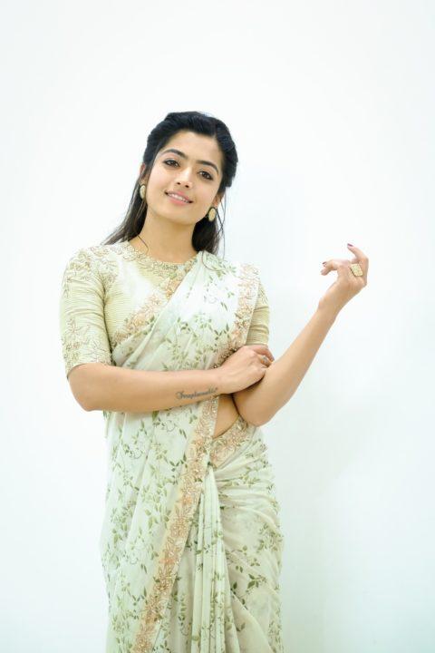 Rashmika  beautiful stills in ivory saree