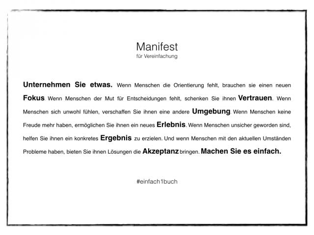 Manifest für Vereinfachung