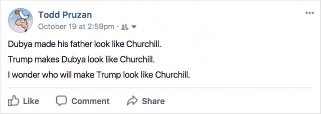 Facebook status update, October 19 2:59pm