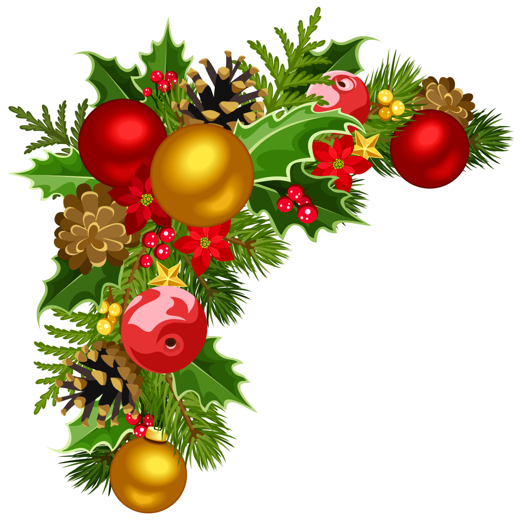 Christmas Deco Corner With Tree Decorations Clipart