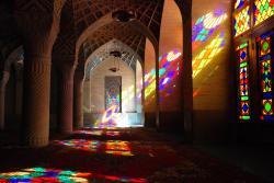 Colour streams in everywhere at the Nasir al Molk Mosque
