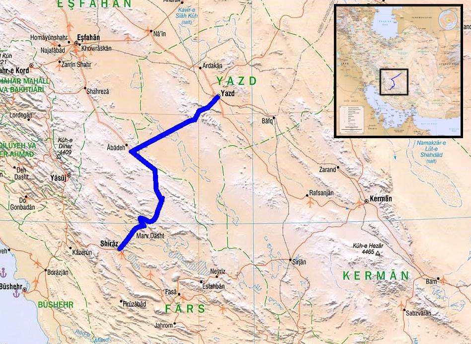 Map Shiraz to Yazd TravellingTwo Bicycle Touring Around The World