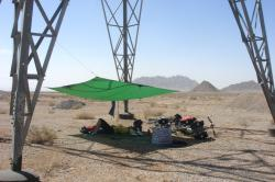 A tarp comes in handy in the desert