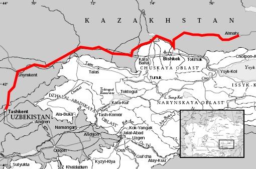 Map Tashkent Almaty TravellingTwo Bicycle Touring Around The World