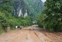 The main road, covered in mud