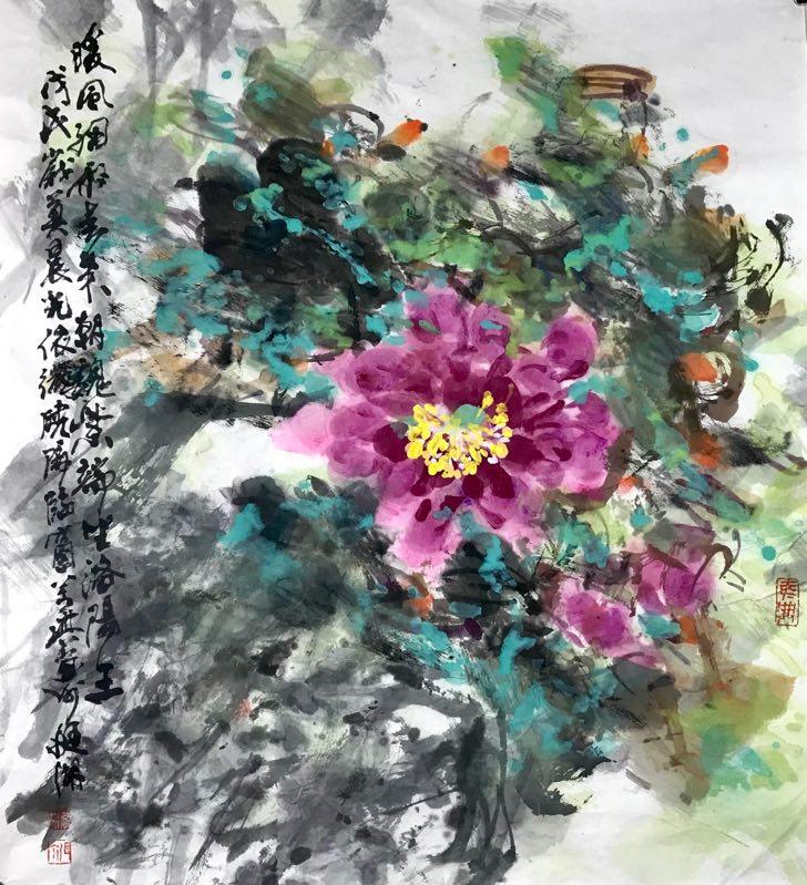 Aquarel op rijstpapier 75 x 68 cm