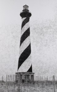 The Cape Hatteras Light Station, first lit in 1870, protects ships from the dangerous Diamond Shoals off the NC Outer Banks. B&W handcrafted alternative process photograph (original silver emulsion print from paper negative). © WJ Eastman Offered by GALLERY5X7.