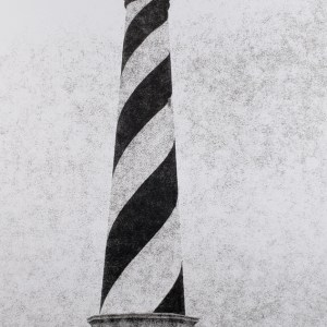 """The Cape Hatteras Light Station, first lit in 1870, protects ships from the dangerous Diamond Shoals off the NC Outer Banks. B&W handcrafted alternative process photograph (original silver emulsion print from paper negative). """"Cape Hatteras Light"""" © WJ Eastman. Offered by GALLERY5X7."""