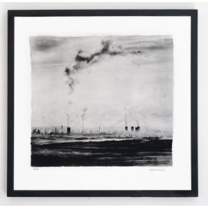 "One misty morning in the north of Bohemia. View over the open-cast mine. Approx. 20"" x 20"" handcrafted alternative process print (antracotypia (resinotype) on white plastic board; black pigment over real silver; wood frame, no glass). Edition #1/10. Signed original print offered by GALLERY5X7 at $500."