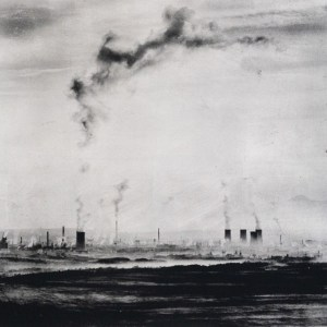 """One misty morning in the north of Bohemia. View over the open-cast mine. Approx. 20"""" x 20"""" handcrafted alternative process print (antracotypia (resinotype) on white plastic board; black pigment over real silver; wood frame, no glass). Edition #1/10. Signed original print offered by GALLERY5X7 at $500."""