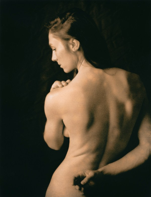 """""""Celina, Back Portrait"""" © David Aimone. Approx. 7"""" x 9"""" handcrafted alternative process lith print on Oriental Seagull silver gelatin paper. Signed, max. edition of 10 prints offered by GALLERY5X7 at $325."""