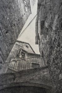 """""""Orta San Guilio"""" © David Aimone. Approx. 8"""" x 12"""" handcrafted gum oil print on Arches Platine paper. Signed single edition print offered by GALLERY5X7 at $350."""