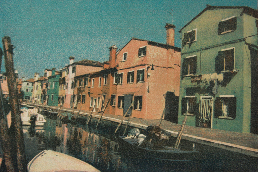 """""""City Of The Sun 2"""" © Anna Melnikova. From the series """"City of the Sun"""" The Venetian Lagoon. Burano, Italy. Approx. 7x11"""" (18.5x27.5cm) handcrafted alternative process photograph (gum bichromate print, four natural-pigment color layers on Lana watercolor paper). GALLERY5X7 offers this original, signed print at $500."""