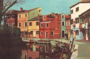 """""""City Of The Sun 3"""" © Anna Melnikova. From the series """"City of the Sun"""" The Venetian Lagoon. Burano, Italy. Approx. 7x11"""" (18.5x27.5cm) handcrafted alternative process photograph (gum bichromate print, four natural-pigment color layers on Lana watercolor paper). GALLERY5X7 offers this original, signed print at $500."""