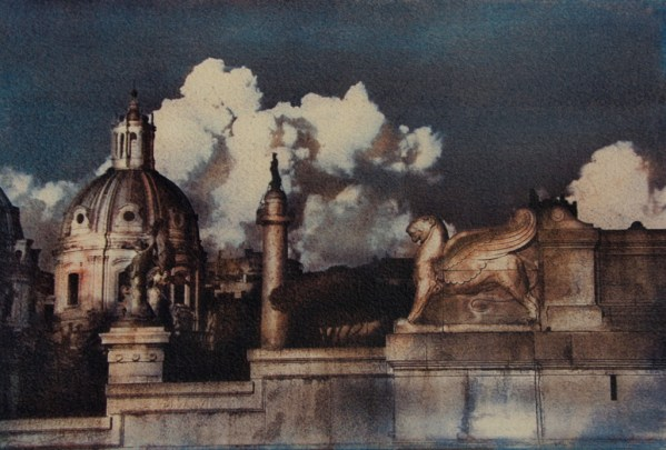 """""""Greatness Of Rome"""" © Anna Melnikova. Rome, Italy. Approx. 8x11"""" (19.5x29cm) handcrafted alternative process photograph (gum bichromate print from a single negative, six natural-pigment color layers on Lana watercolor paper). GALLERY5X7 offers this original, signed print at $500."""