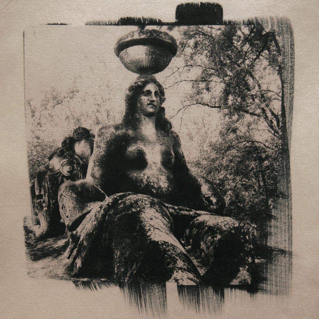 """""""The Sacro Bosco 3"""" © Anna Melnikova. From the series """"The Sacro Bosco"""" Bomarzo, Italy. Approx. 10x10"""" (25x25cm) handcrafted alternative process photograph (original cyanotype print, double toning on Fabriano Artistico paper from a digital negative). GALLERY5X7 offers this original, signed print at $400."""