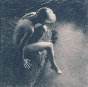 """Calypso"" © Victor Senkov. ""Calypso"" is a part of the 2018 series ""Nymphs and other Goddesses."" Approx. 5.1x5.1"" (13x13cm) handcrafted alternative process photograph (cyanotype, toned). GALLERY5X7 offers this signed, numbered and stamped original artist print at $500."