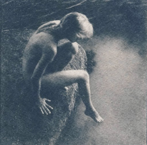 """""""Calypso"""" © Victor Senkov. """"Calypso"""" is a part of the 2018 series """"Nymphs and other Goddesses."""" Approx. 5.1x5.1"""" (13x13cm) handcrafted alternative process photograph (cyanotype, toned). GALLERY5X7 offers this signed, numbered and stamped original artist print at $500."""